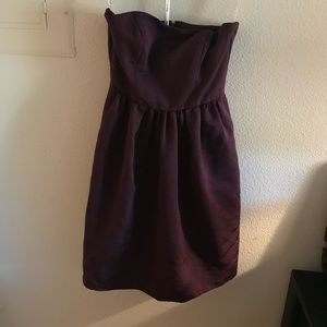 Plum colored midi formal dress with pockets